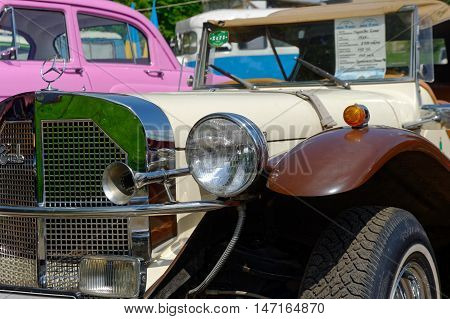 Kharkiv Ukraine - May 22 2016: Close up of retro car Mercedes-Benz Gazelle manufactured in1926 is presented at the festival of vintage cars Kharkiv Retro Rally - 2016 in Kharkiv Ukraine on May 22 2016