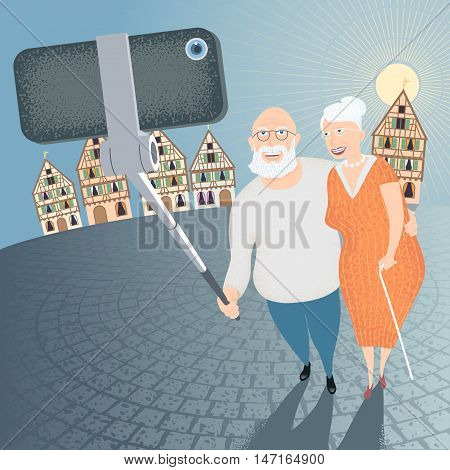 Group of old people making selfie photo with phone and stick on European street background vector illustration. Senior people elderly pensioners concept visual