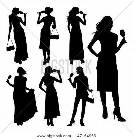 Vector set of silhouette young elegant women dressed in evening dress holding wine glasses with a cocktail in hand. Sexy girl with a glass.