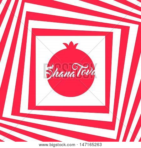 Rosh hashana greeting card - Jewish New Year vector illustration. Abstract geometric pattern and pomegranate icon. Greeting text Shana tova on Hebrew - Have a good year. Abstract geometric background.