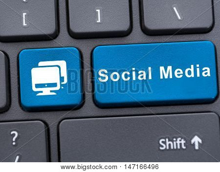 Social Media On Blue Button On Keyboard