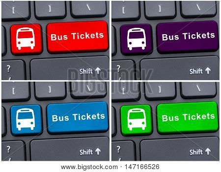 Bus Ticket Button With Bus Icon