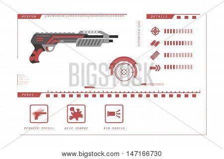 Details of gun: shotgun. Game perks. Virtual reality weapon. Vector illustration