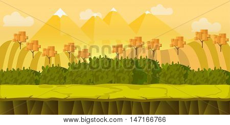 Autumn Hills Game background , 2d game application. Vector Illustration for your application , project.
