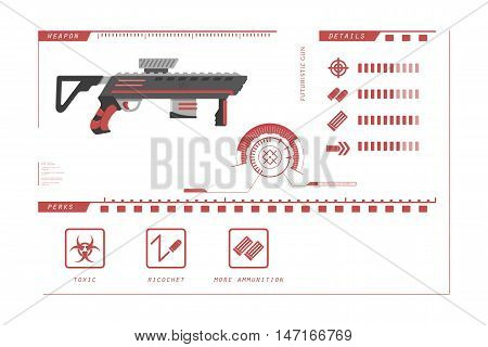 Details of gun: rifle. Game perks. Virtual reality weapon. Vector illustration