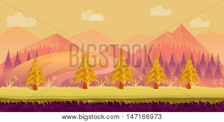 Seamless cartoon nature landscape. Layered ground, grass, trees, Hills, mountains clouds and sky
