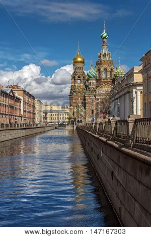 Cathedral Savior on the blood on the Canal Griboedova in St Petersburg in summer