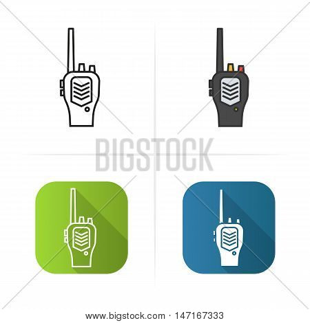 Radio transceiver icon. Flat design, linear and color styles. Isolated vector illustrations