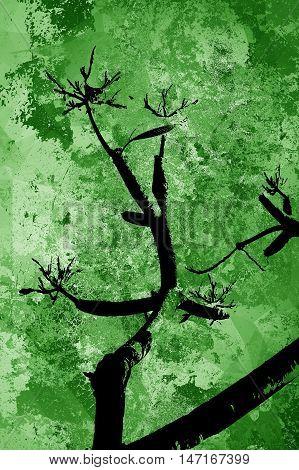 silhouette branch tree on grunge green background
