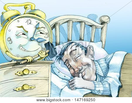 a 'peaceful man sleeps while an alarm clock with a hammer in his hand is ready to strike