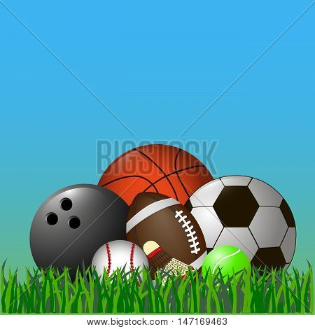 This vector illustration depicts a set of sports balls and a shuttlecock.