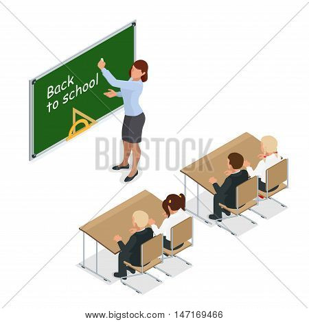 sometric School lesson. Little students and teacher. Isometric Classroom with green chalkboard, teachers desk, pupils tables and chairs. Flat 3d cartoon illustration