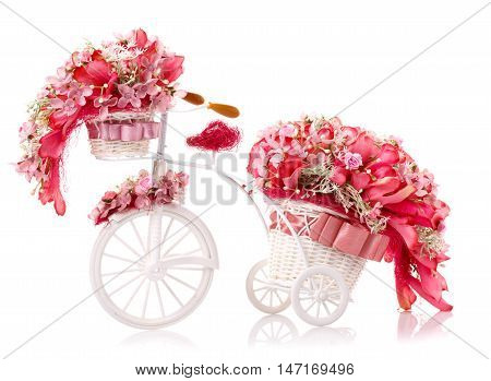 red flover in a flowerpot-bicycle isolated on white
