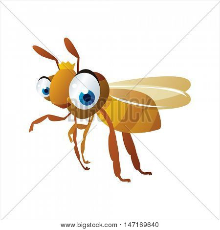 vector cartoon cute animals. Funny insects. Queen bee