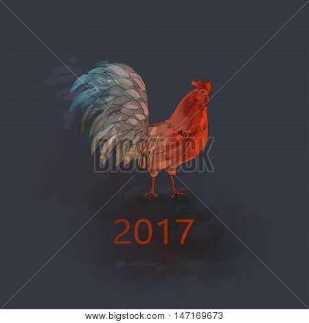 Vector. Chinese New Year of the Rooster. Graphic imitation of watercolor painting. Rooster Chinese Painting. New Year card. 2017 New Year card.