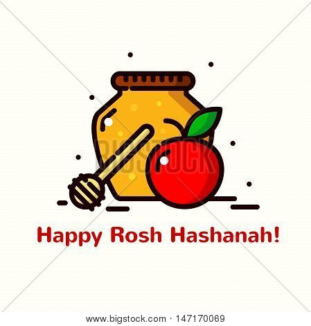 Rosh Hashanah greeting card, vector illustration in outline design cartoon style
