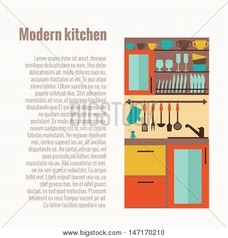 Kitchen counter concept with kitchen interior elements. kitchen sink isolated vector illustration. Colorful cartoon kitchen sink interior concept. Kitchen countertop with kitchen utensils, sink, table