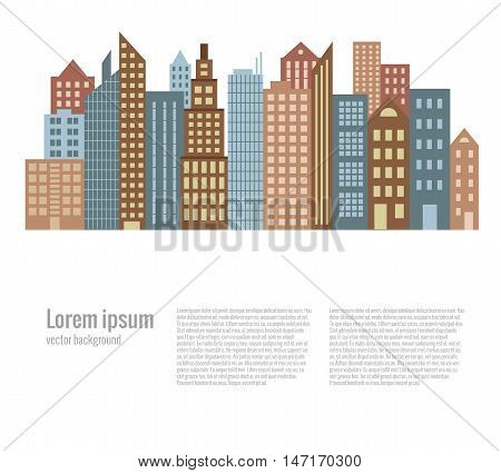 City landscape buildings flat background. Vector cityscape illustration. Concept of urban  street houses silhouette. Colorful cityscape for your design. Flat cartoon city landscape isolate