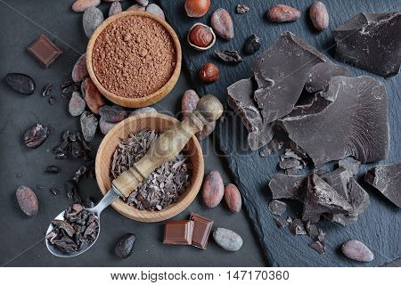Chocolate Pieces, Cacao Powder And Cacao Beans