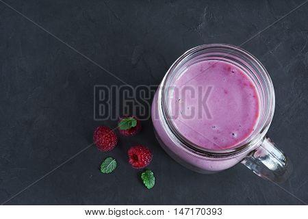 Raspberry Smoothie In A Glass Jar