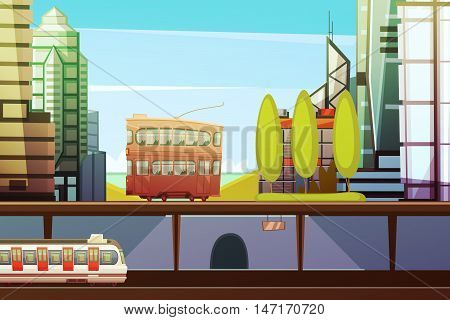 Hong kong downtown cartoon front view with city transport and town buildings elements flat vector illustration