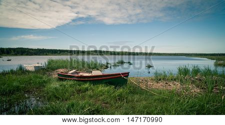 Wooden fishing boat on the shore in Prince Edward Island