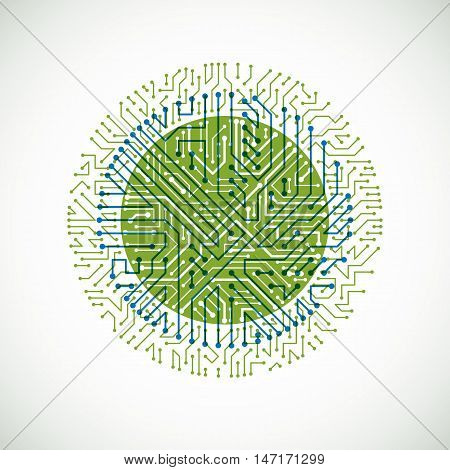 Vector Abstract Colorful Technology Illustration With Round Green And Blue Circuit Board. High Tech