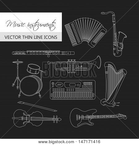 Vector thin line icons with different music instruments: synthesizer, drums, accordion, violin, trumpet, harp, drum, saxophone, electric, guitar, flute, piano