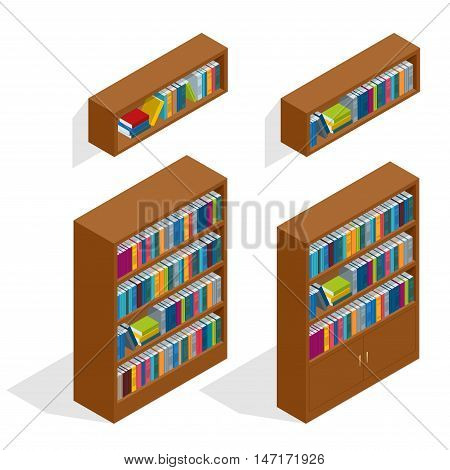 A vector illustration of a set of bookshelves. Bookcases with books. Isometric library books and shelves.