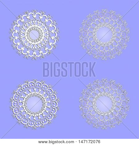 4 variants of abstract circular pattern on a purple  background