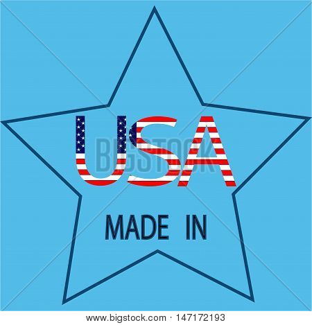 Made in USA sign. Isolated star icon on blue background. Flat vector image. Vector illustration.