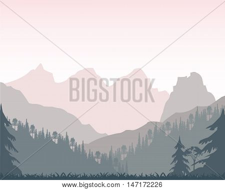 Wood and silhouettes of the distant mountains in the morning