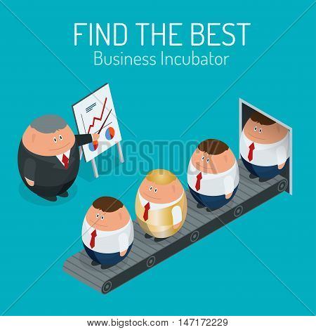 Business incubator Concept. Find the best start up. Flat 3d vector isometric illustration