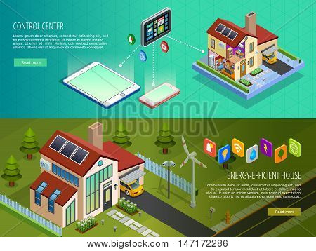 Internet of things smart home infrastructure 2 horizontal isometric banners with computer controlled energy supply isolated vector illustration