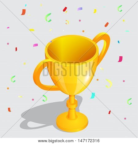 Realistic championship gold cup with falling confetti pieces vector illustration. Achievement in sport golden trophy.
