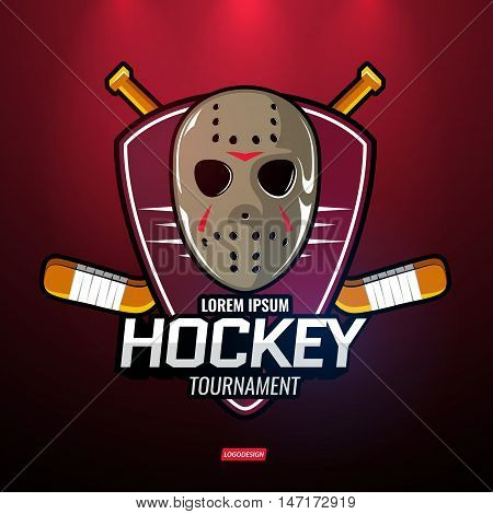 The logos on the theme of sport. Vector hockey emblems.
