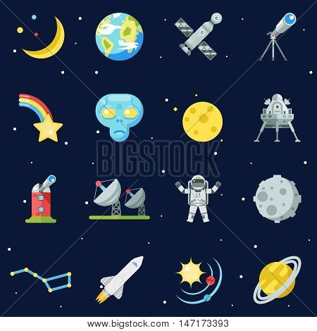 Space Symbol Innovation Technology Flat Design Set Template Vector Illustration