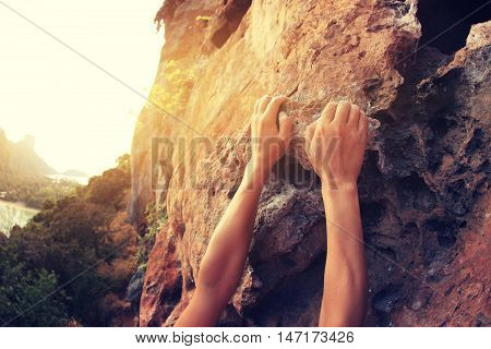 young woman rock climber hands climbing at seaside mountain cliff rock