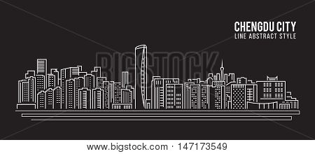 Cityscape Building Line art Vector Illustration design - Chengdu city