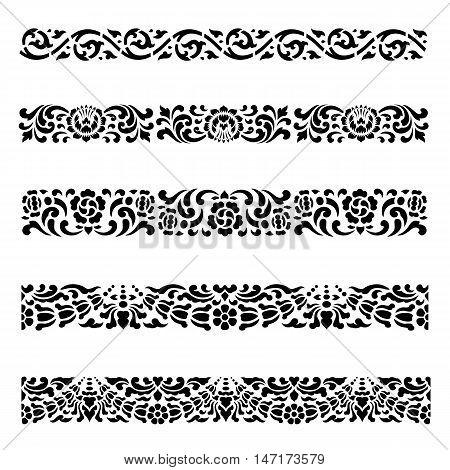Line border pattern Asian traditional art Design Vector set Thai traditional design (Lai Thai pattern)