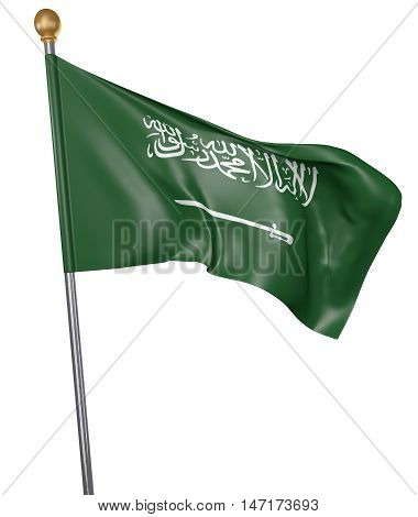 National flag for country of Saudi Arabia isolated on white background, 3D rendering