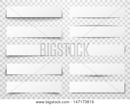 Set of white horizontal paper banners with different realistic shadows on transparent checkered background. Vector illustration