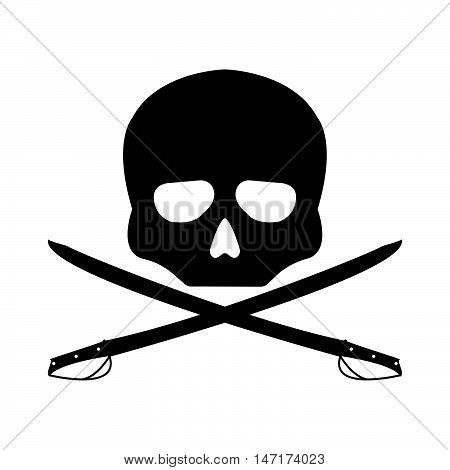 Pirate Vector Flag. Flat Sign On White Background. Jolly Roger Logo. Vector Illustration.