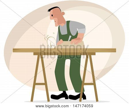 Vector illustration of a carpenter and crafting table