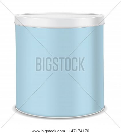 Round metal can for food cookies and gifts. Isolated on white background.