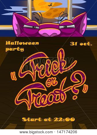 Halloween poster with a tricky cat. Exapmle of a Halloween party flyer a poster or card. Vector illustration with separated layers.