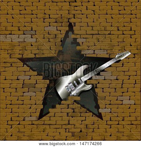 Iron electric guitar in the gap in the form of a star of the old brick wall. The design and material of the guitar invented by the author and is not covered by the law on copyright.