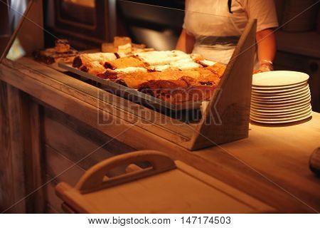Tasty strudels in a cafe