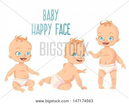 Set of three cute babies with happy smiles. Sitting crawling and standing poses. Isolated cartoon kids on white background.