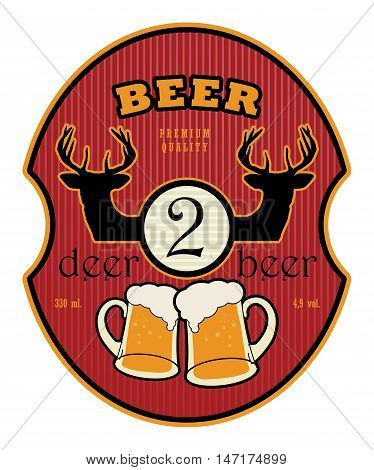 Label with beer mugs and the text 2 Deer Beer written inside, vector illustration